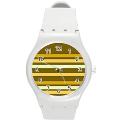 Elegant Shades of Primrose Yellow Brown Orange Stripes Pattern Round Plastic Sport Watch (M)