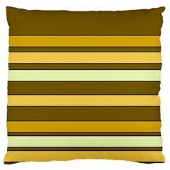 Elegant Shades of Primrose Yellow Brown Orange Stripes Pattern Large Cushion Case (Two Sides)
