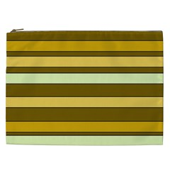 Elegant Shades of Primrose Yellow Brown Orange Stripes Pattern Cosmetic Bag (XXL)