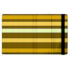 Elegant Shades of Primrose Yellow Brown Orange Stripes Pattern Apple iPad 2 Flip Case