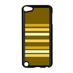 Elegant Shades of Primrose Yellow Brown Orange Stripes Pattern Apple iPod Touch 5 Case (Black)