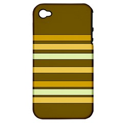 Elegant Shades of Primrose Yellow Brown Orange Stripes Pattern Apple iPhone 4/4S Hardshell Case (PC+Silicone)