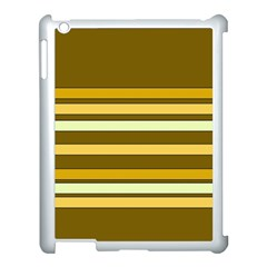 Elegant Shades of Primrose Yellow Brown Orange Stripes Pattern Apple iPad 3/4 Case (White)