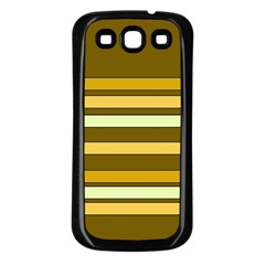 Elegant Shades of Primrose Yellow Brown Orange Stripes Pattern Samsung Galaxy S3 Back Case (Black)