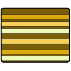 Elegant Shades of Primrose Yellow Brown Orange Stripes Pattern Double Sided Fleece Blanket (Medium)