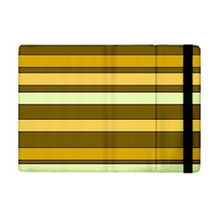 Elegant Shades of Primrose Yellow Brown Orange Stripes Pattern iPad Mini 2 Flip Cases