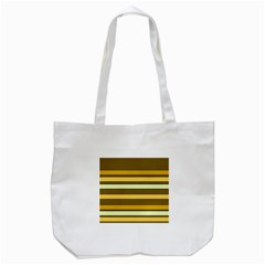 Elegant Shades of Primrose Yellow Brown Orange Stripes Pattern Tote Bag (White)