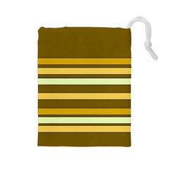 Elegant Shades of Primrose Yellow Brown Orange Stripes Pattern Drawstring Pouches (Large)