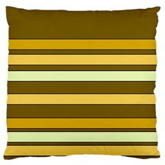 Elegant Shades of Primrose Yellow Brown Orange Stripes Pattern Standard Flano Cushion Case (One Side)