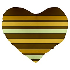 Elegant Shades of Primrose Yellow Brown Orange Stripes Pattern Large 19  Premium Flano Heart Shape Cushions
