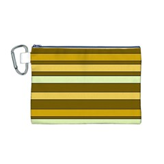 Elegant Shades of Primrose Yellow Brown Orange Stripes Pattern Canvas Cosmetic Bag (M)