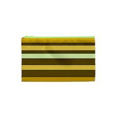 Elegant Shades of Primrose Yellow Brown Orange Stripes Pattern Cosmetic Bag (XS)