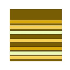 Elegant Shades of Primrose Yellow Brown Orange Stripes Pattern Small Satin Scarf (Square)