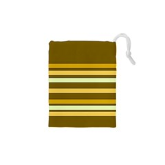 Elegant Shades of Primrose Yellow Brown Orange Stripes Pattern Drawstring Pouches (XS)