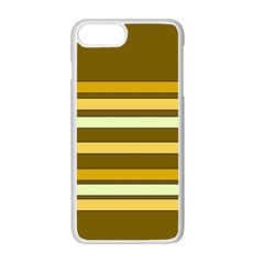 Elegant Shades Of Primrose Yellow Brown Orange Stripes Pattern Apple Iphone 7 Plus White Seamless Case