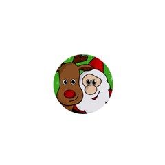 Rudolph and Santa selfie 1  Mini Buttons
