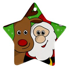Rudolph and Santa selfie Ornament (Star)