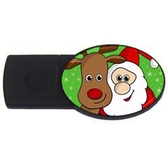 Rudolph and Santa selfie USB Flash Drive Oval (1 GB)