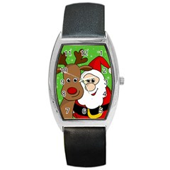 Rudolph and Santa selfie Barrel Style Metal Watch
