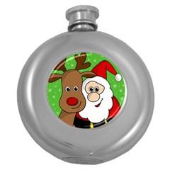 Rudolph and Santa selfie Round Hip Flask (5 oz)