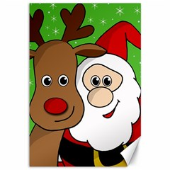 Rudolph and Santa selfie Canvas 12  x 18