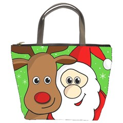 Rudolph and Santa selfie Bucket Bags