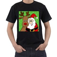Rudolph and Santa selfie Men s T-Shirt (Black)