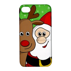 Rudolph and Santa selfie Apple iPhone 4/4S Hardshell Case with Stand