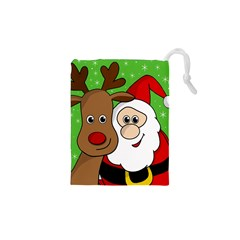 Rudolph and Santa selfie Drawstring Pouches (XS)