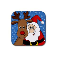 Christmas selfie Rubber Coaster (Square)
