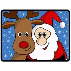 Christmas selfie Double Sided Fleece Blanket (Large)