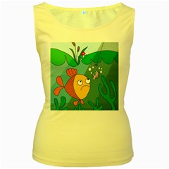 Fish and worm Women s Yellow Tank Top