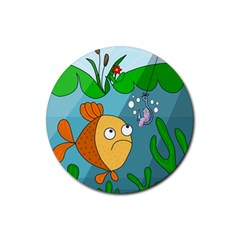 Fish and worm Rubber Coaster (Round)