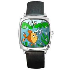 Fish and worm Square Metal Watch