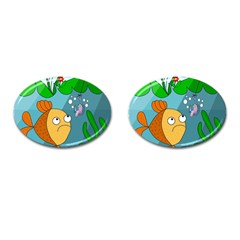Fish and worm Cufflinks (Oval)