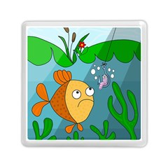 Fish and worm Memory Card Reader (Square)