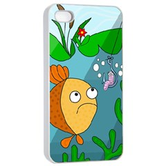 Fish and worm Apple iPhone 4/4s Seamless Case (White)