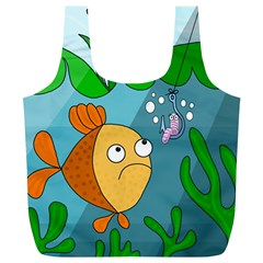 Fish and worm Full Print Recycle Bags (L)