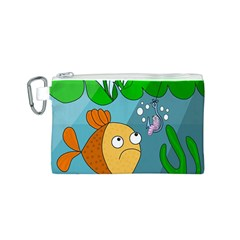 Fish and worm Canvas Cosmetic Bag (S)