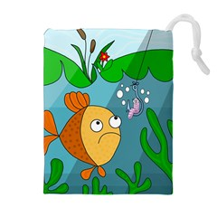 Fish and worm Drawstring Pouches (Extra Large)