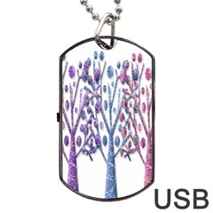 Magical pastel trees Dog Tag USB Flash (Two Sides)