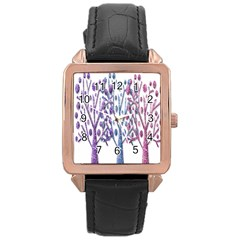 Magical pastel trees Rose Gold Leather Watch