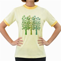 Magical green trees Women s Fitted Ringer T-Shirts