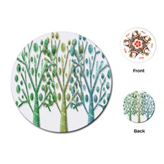 Magical green trees Playing Cards (Round)