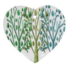 Magical green trees Heart Ornament (2 Sides)