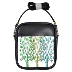 Magical green trees Girls Sling Bags