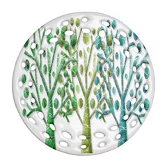 Magical green trees Ornament (Round Filigree)