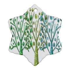 Magical green trees Snowflake Ornament (2-Side)