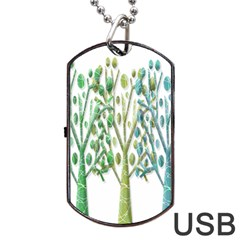 Magical green trees Dog Tag USB Flash (Two Sides)