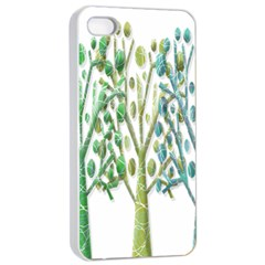 Magical green trees Apple iPhone 4/4s Seamless Case (White)